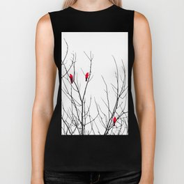 Artistic Bright Red Birds on Tree Branches Biker Tank