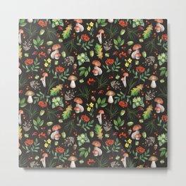 Fall Mushrooms Pattern Metal Print