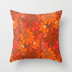 Vintage floral linen fabric  Throw Pillow