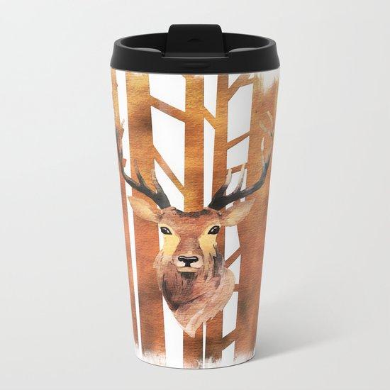 Proud deer in forest- Watercolor Illustration Metal Travel Mug