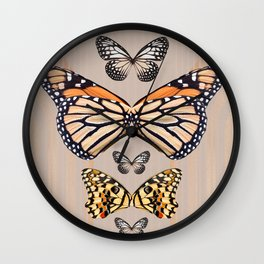 Butterflies abstract collage. Modern collage. Wall Clock