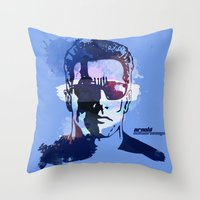 terminator Throw Pillows featuring Terminator by BIG Colours