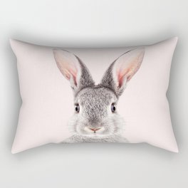 Baby Rabbit, Grey Bunny With Pink Background, Baby Animals Art Print By Synplus Rectangular Pillow