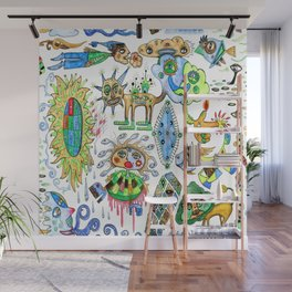 watercolor doodle Wall Mural