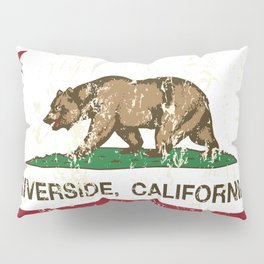Riverside California Republic Flag Distressed  Pillow Sham