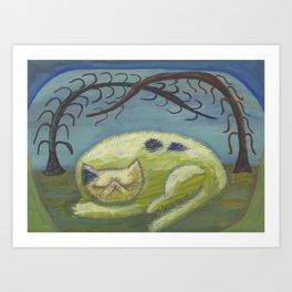 Memento Mori cat Art Print