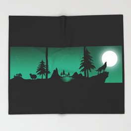 The sheep and the wolf in the woods Throw Blanket