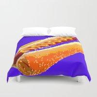 hot dog Duvet Covers featuring Hot Dog by Del Vecchio Art by Aureo Del Vecchio