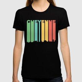 Retro 1970's Style Cheyenne Wyoming Skyline T-shirt