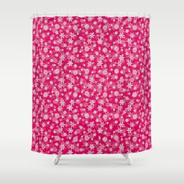 Festive Peacock Pink and White Christmas Holiday Snowflakes Shower Curtain