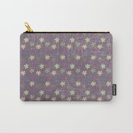 Vintage mauve purple green abstract leaves pattern Carry-All Pouch