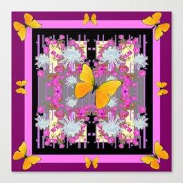 Pink-Purple Yellow Butterflies  & Flowers Garden Art Canvas Print