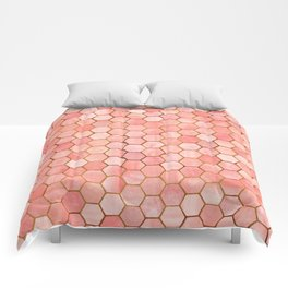 Coral and Gold Hexagonal Geometric Pattern Comforters