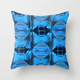 BLUE CRYSTAL GEMS PATTERN Throw Pillow