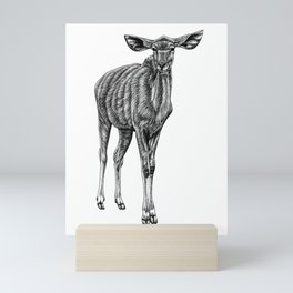 Greater kudu - antelope - ink illustration Mini Art Print