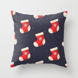 Red Christmas Stocking Pattern Throw Pillow