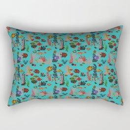 Blue Tropical Ocean Sealife Paradise Watercolor Rectangular Pillow