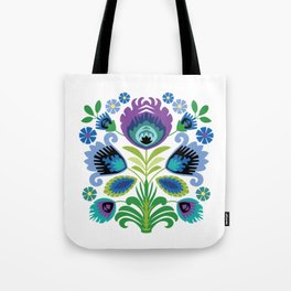 Polish Folk Flowers Purple Tote Bag