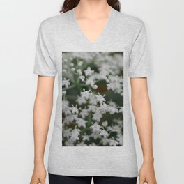 Small little white flowers Unisex V-Neck
