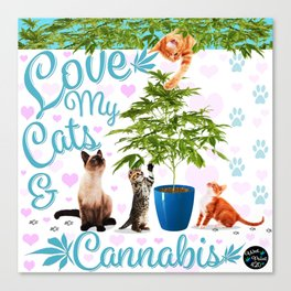Love My Cats and Cannabis Canvas Print