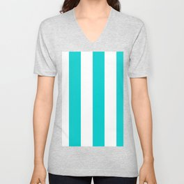 Wide Vertical Stripes - White and Cyan Unisex V-Neck