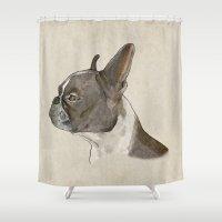 bulldog Shower Curtains featuring Bulldog by Marta Bocos