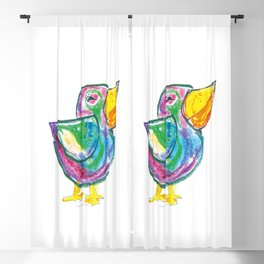 Funny bird illustration for children, colourfull sketch, painting Blackout Curtain