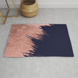 Navy blue abstract faux rose gold brushstrokes Rug