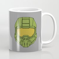 master chief Mugs featuring Master Chief Helmet - Halo MCC by RoboKev