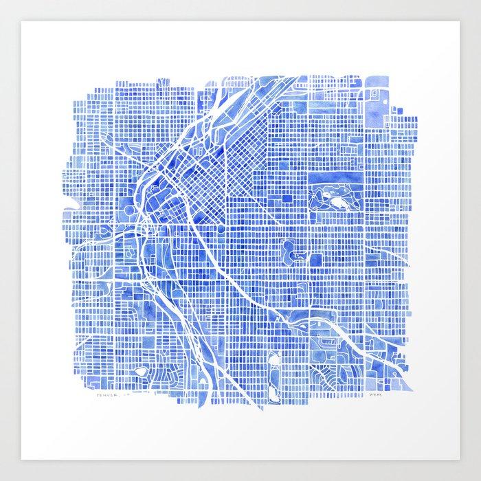 Denver blueprint city map watercolor art print by aemcdraw society6 denver blueprint city map watercolor art print malvernweather Gallery