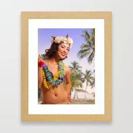 """Aloha"" - The Playful Pinup - Coconut Shell Bikini Pinup Girl by Maxwell H. Johnson Framed Art Print"