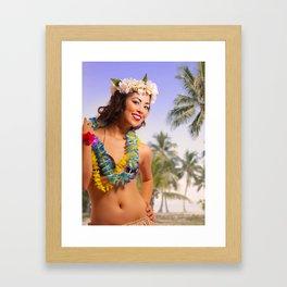 """Aloha"" - The Playful Pinup - Coconut Shell Bikini Pinup Girl by Maxwell H. Johnson Framed Art Print"