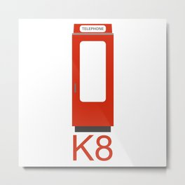 K8 RED PHONE BOX Metal Print