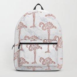 Modern rose gold geometric flamingos illustration pattern white marble Backpack