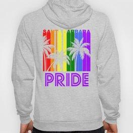 Santa Barbara Pride Gay Pride LGBTQ Rainbow Palm Trees Hoody