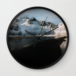 Aerial of a black beach at the ocean with Mountain in south Iceland during sunset - Landscape Photog Wall Clock