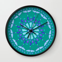 Sea Glass Sun and Flower Mosaic Wall Clock
