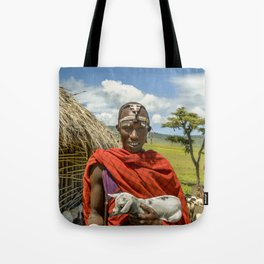 Maasai 4279 Tribesman with Goat Tote Bag