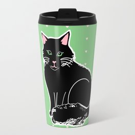 Black Fluffy Cat Pink & Green Travel Mug