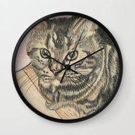 Cat on floor Wall Clock