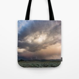 Yellowstone National Park - Sunset storm over the Washburn Range Tote Bag