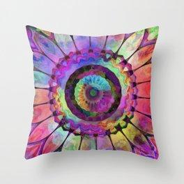 Rainbow Daisy Kaleidoscope Throw Pillow