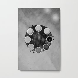 Coffee Circle (Black and White) Metal Print