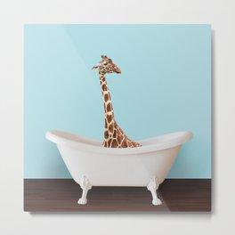 Bathtub giraffe in blue Metal Print