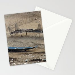 Mekong Traditional Fishing Boat and Fishing Gear Laos Stationery Cards