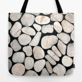 Light Stone Pattern Against Black Tote Bag