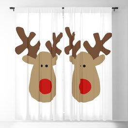 Christmas Reindeer-White Blackout Curtain