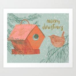 Merry Christmas Wren with Bird House Art Print