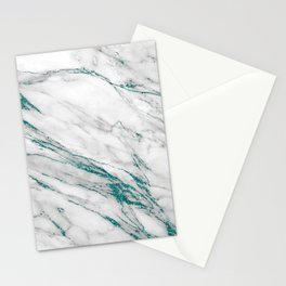 Gray Marble Aqua Teal Metallic Glitter Foil Style Stationery Cards