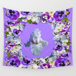 SPRING LILAC PURPLE PANSY FLOWERS & WHITE IRIS PATTERN Wall Tapestry